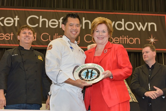 Chef Keoni Chang accepting his Grand Prize award with Leslie G. Sarasin, CEO of the Food Marketing Institute. Please click on the image above to see a video of the finale.